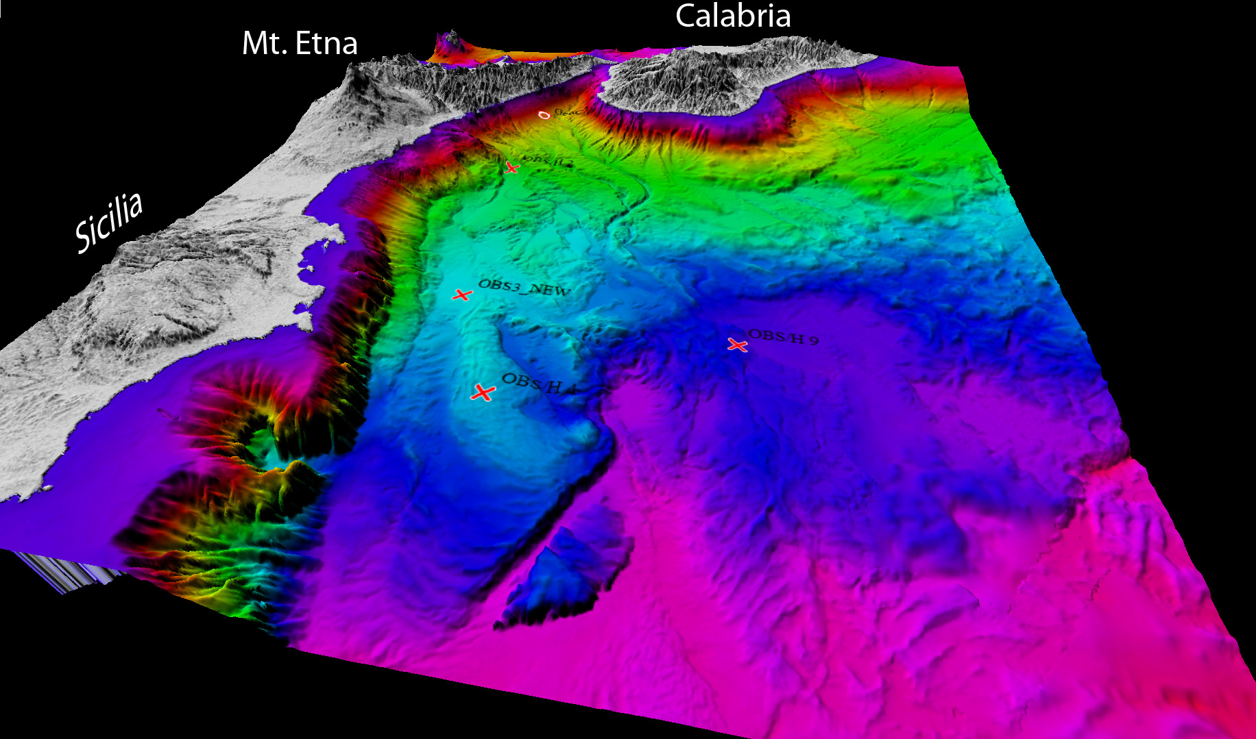 3D view of the Ionian Sea from high resolution multibeam bathymetry collected during the SEISMOFAULTS 2017 Oceanographic Cruise combined with EMODNET Digital Elevation Model
